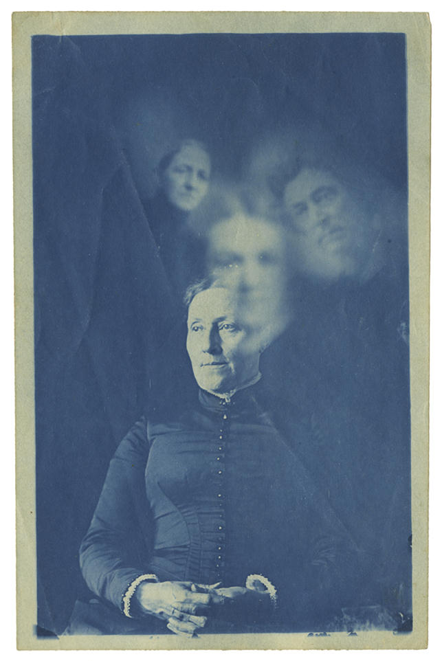 1- Frank Coster, Spirit photograph, c1890, Cyanotype, 20.5 x 14.5 cm, courtesy Archive of Modern Conflict, London