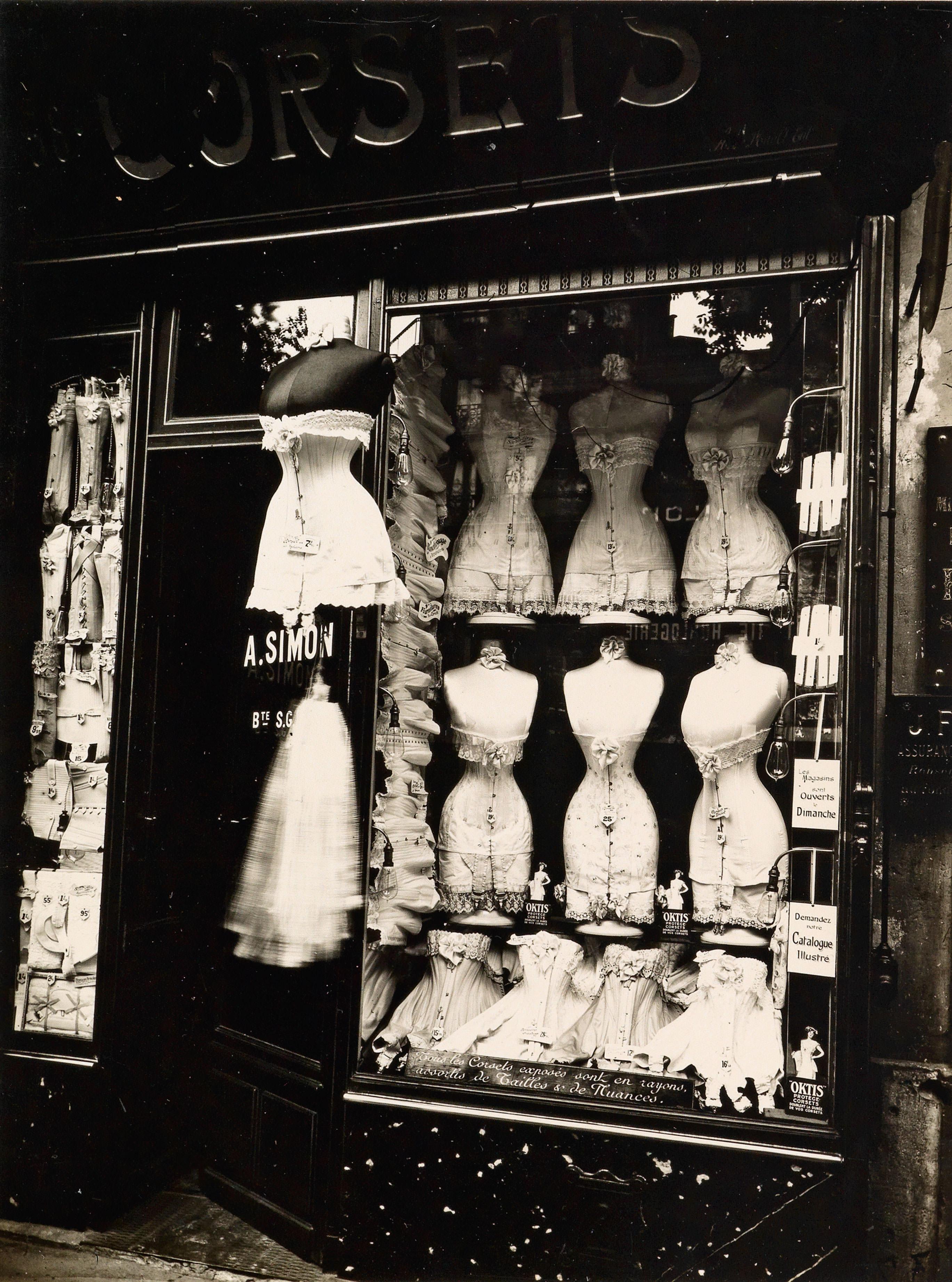 "Eugène Atget, Boulevard de Strasbourg, Corsets, Paris, 1912 Printed 1930s by Berenice Abbott, silver print, 9"" x 7"""