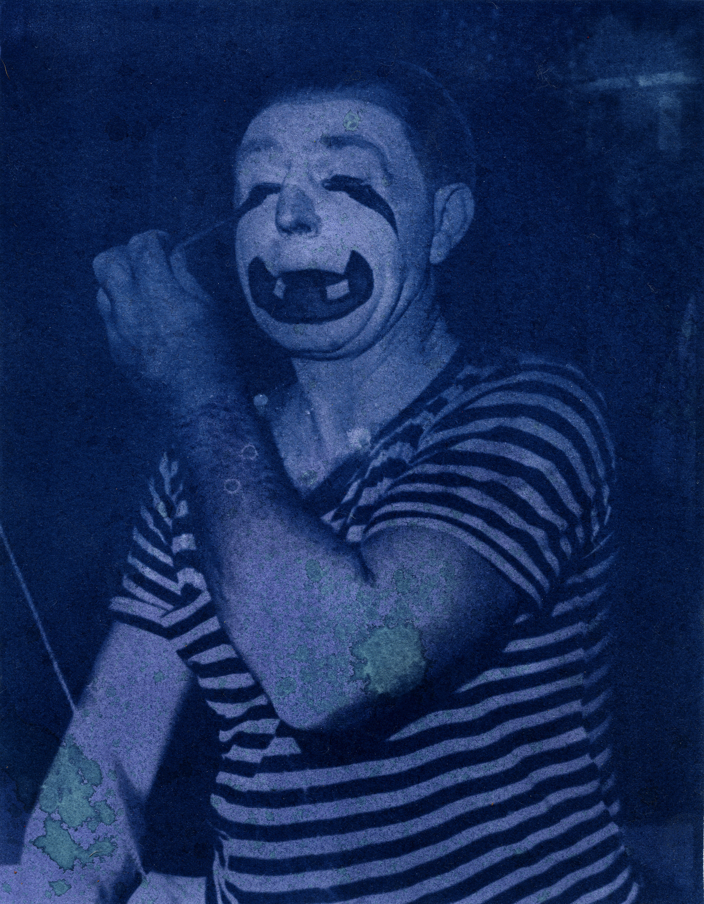 "Jonah Samson, Clown Cyanotype with wild blueberries and all natural household cleanser, 16"" x 20"""