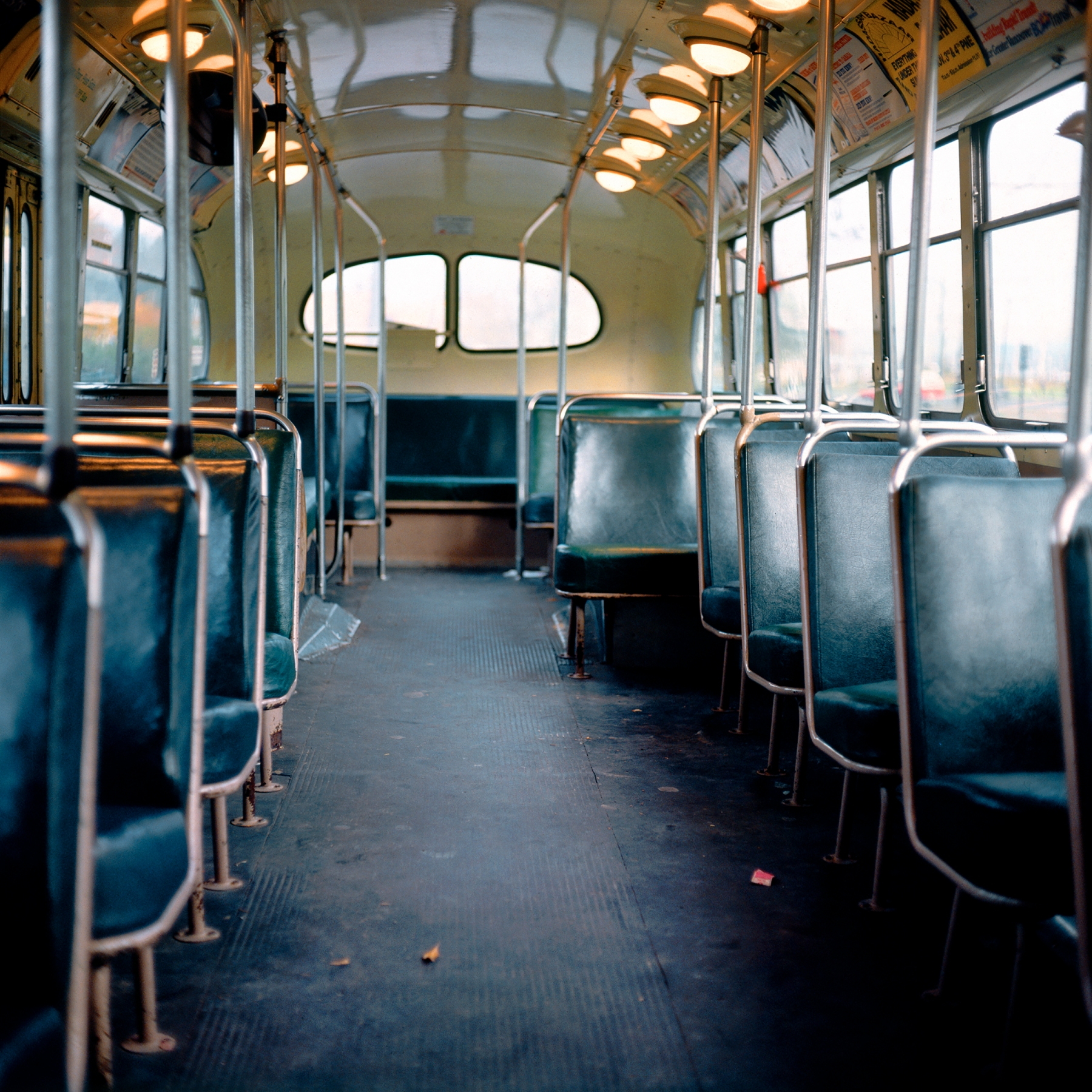 "Roy Arden Trolley Bus, Vancouver 1981–85 Archival pigment print 8"" x 8"" Courtesy of the artist and Monte Clark Gallery"