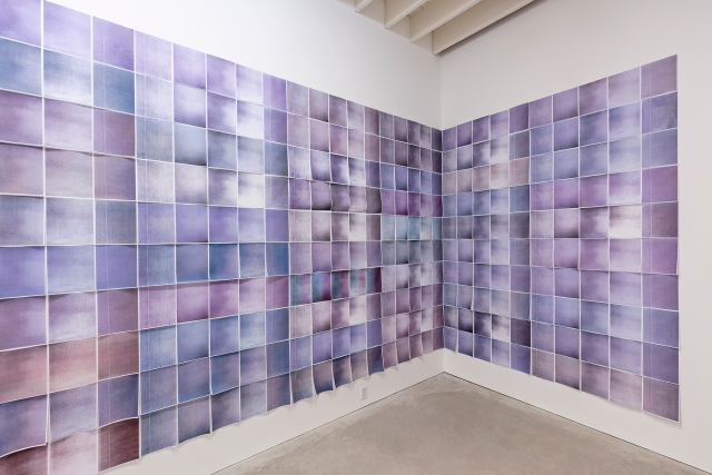 Kelly Lycan Nearby Nearby: 291 Burlap Walls 2016 Colour photocopies Courtesy of the artist Documentation: Toni Hafkenscheid