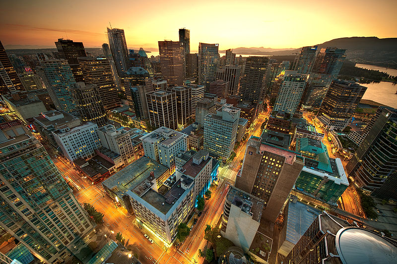 View of downtown Vancouver from the Lookout Tower at Harbour Centre