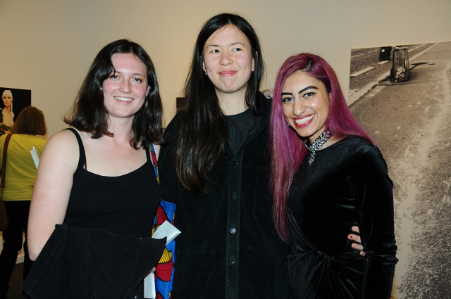 Lind Prize 2017 announcement. At centre, prize winner Marisa Kriangwiwat Holmes. Natasha Habedus (left) and Durrah Alsaif (right) received Honourable Mentions .Photo by Cindy Goodman, courtesy of The Presentation House Gallery / The Polygon Gallery.