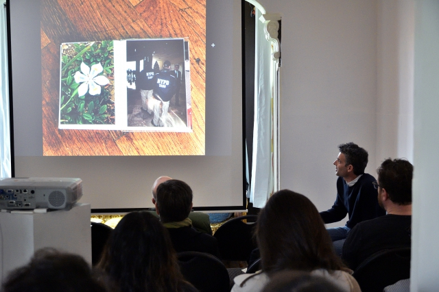 """When Is a Photobook Not a Photo Book"" talk by Jeff Khonsary of New Documents at the James Black Gallery for the inaugural Vancouver Photo Book Fair 2017. Photo by Roaming the Planet."